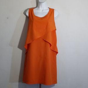 SHARAGANO Size 12 Orange Dress